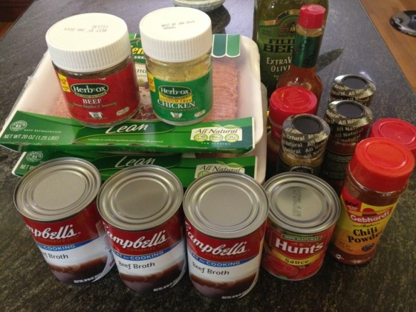 My army of ingredients has been assembled, ready to do battle against vegetable-laden counterfeit chili knockoffs.