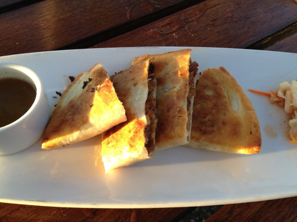 The Kahlua pork quesadilla was slam-dunk piggy deliciousness.