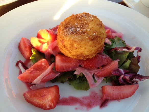 Warm goat cheese with a crispy crust on froofy salad thing. It was awesome.