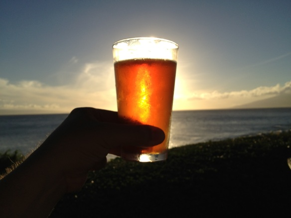 A sunset at Merriman's, as seen through a glass of Fire Rock pale ale. Beyootiful.