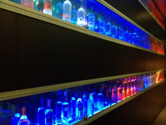 This particular wall is decorated like an alcoholic police car.