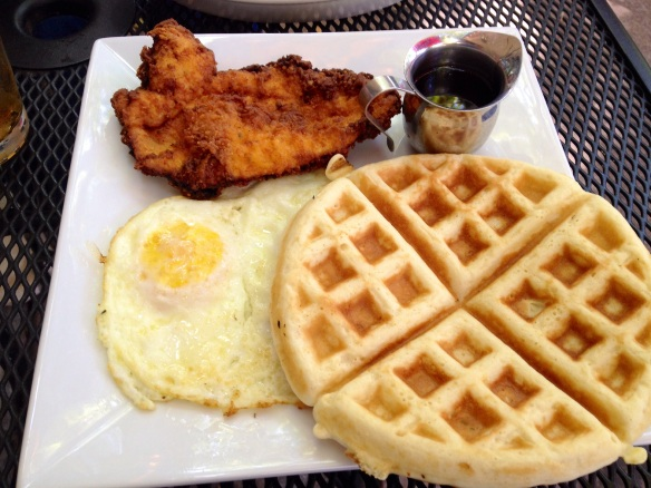 This is just like any other chicken and waffle dish you've had, except that it isn't good.